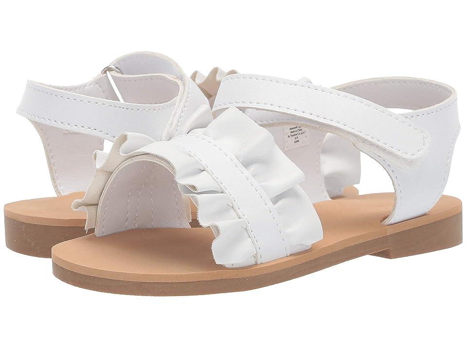 Baby Deer Sandal with Ruffle Walk (Infant/Toddler/Little Kid) (White) Girls Shoes