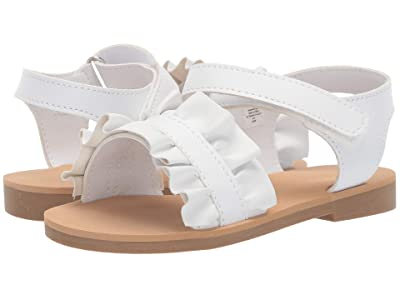 Baby Deer Sandal with Ruffle Walk (Infant/Toddler/Little Kid) (White) Girls Shoes