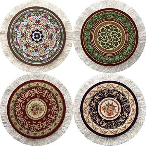 Inusitus 4er Set Runde Untersetzer Teppich Muster- Bunte Untersetzer Glass, Tisch und Baruntersetzer - Mehrfarbig (Set-2)