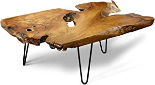StyleCraft Badang Carving Natural Wood Edge Teak Contemporary Coffee Cocktail Table with Clear Lacquer Finish and Metal Ha...