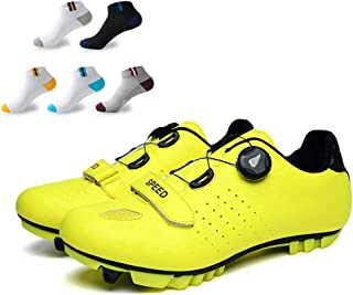 OneChange Adults' Cycling Shoes, Unisex Mountain Bike Shoes Cushioning Breathable Reflective Pro Cycling Lock Shoes with 5 Pairs Sports Socks (Color : Yellow, Size : 39EU)