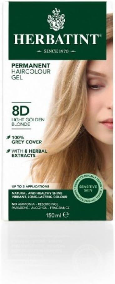 Tinte para el cabello permanente sin amoniaco Herbatint natural, 265 ml, color rubio claro dorado