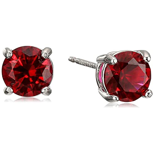 eb595ced7 Amazon Essentials Sterling Silver Genuine or Created Round Cut Birthstone  Stud Earrings