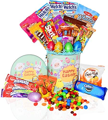 Easter Snack Gift Tin Basket 29 COUNT Easter Candy Eggs Easter Chocolates Great Easter Care product image