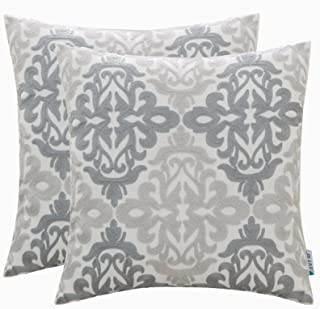 HWY 50 Linen Grey Gray Decorative Embroidered Throw Pillows Covers Set Cushion Cases for Couch Sofa Bed 18 x 18 inch Pack of 2 Geometric Floral