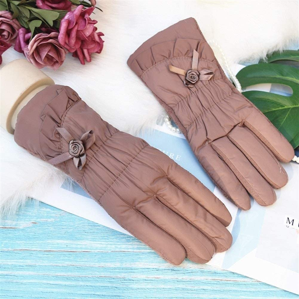 Winter Gloves Warm Gloves Ladies Non-Slip Thick Touch Screen Winter Outdoor Gloves (Color : Camel, Size : One Size)