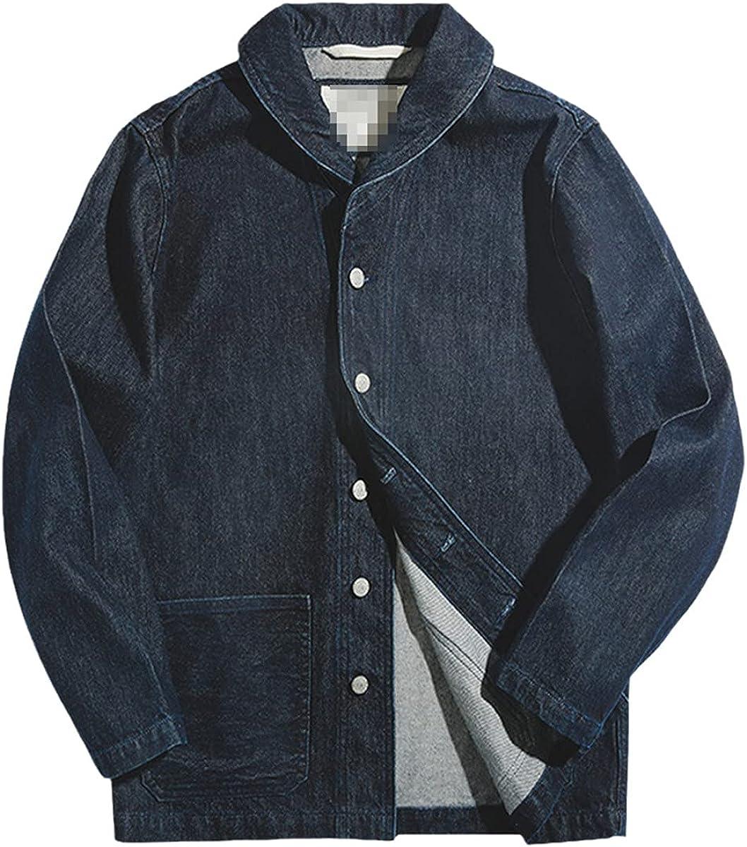 DFLYHLH Washed Denim Jacket Men's Retro Overalls Suit Jacket Cotton Solid Color Hunting Denim Lapel Jacket