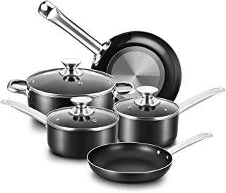 COOKER KING Nonstick Cookware Set, 8 Piece Nonstick Pots and Pans Set with Glass Lids, Oven Safe, Dishwasher Safe, Stainless Steel Handles, Night Black