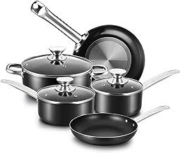 COOKER KING Nonstick Cookware Set, 8-Piece Nonstick Pots and Pans Set with Glass Lids, Baking Sets, Cooking Pots Set, Oven...