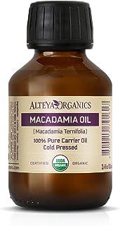 Alteya Organic Aceite de macadamia 100 ml - 100% certificado por USDA Aceite de portador de macadamia prensado en frío nat...