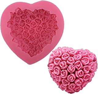 First Try Silicone 3D Rose Flower Love Heart Shape Mold DIY Fondant Sugar Pudding Soap Candle Mould for Wedding Valentine ...