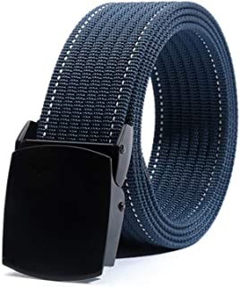 YAOLUU Cinturón de Lona de Nylon sin Agujeros Hebilla Lisa Cinturón de Ocio al Aire Libre Jeans automáticos con L120 × W3....