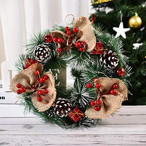R1vceixowwi Corona de Navidad de 32 cm, corona de pared, corona de Navidad, corona decorada de ramas de abeto, color rojo