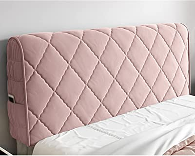 Thicken Plush All-Inclusive Universal Elastic Protection Cover Headboard Cover for Bed Back Soft Velvet (Color : Pink, Size : 180cm)