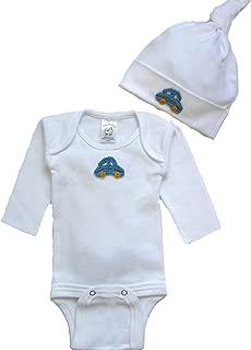 Tiny Bundles Baby Boys' Blue Crochet Car Applique Bodysuit and Knotted Cap Set