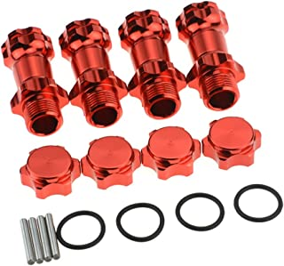 HobbyMarking 4Pcs RC Car 1/8 Aluminum Wheel Hex Hub M17 17mm to M37 37mm Extension Adapter Anti-Dust Cap 12mm for 1:8 RC Model Car HSP Upgraded (Red)