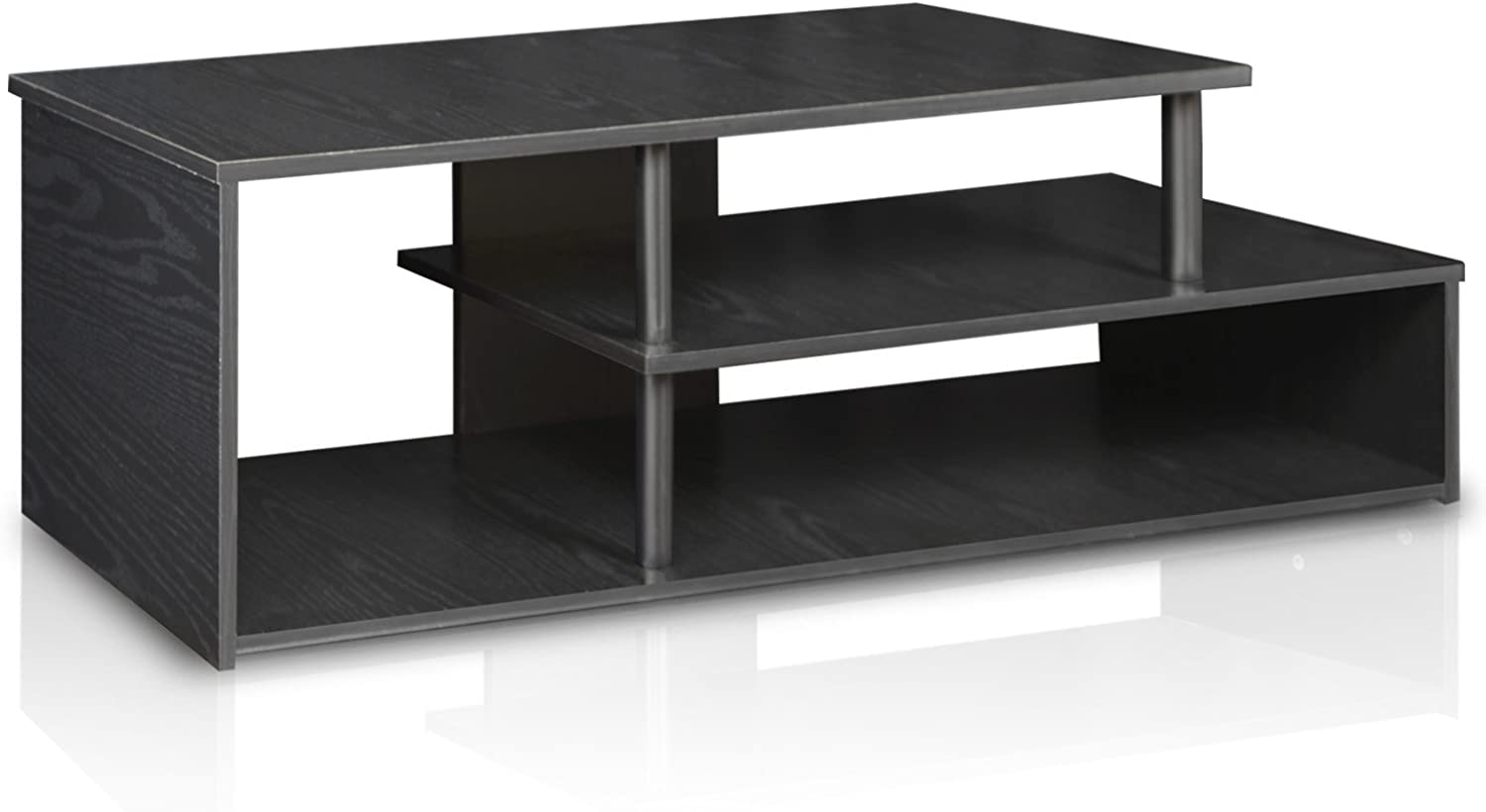 Furinno 15044BW BK Econ Low Rise TV Stand, Blackwood