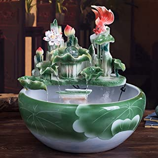 Desktop fountain Ceramic Desktop Fountain Rustic Zen Indoor Table-Top Water Fountain Cascading Ceramic Fish Pond Fountain ...