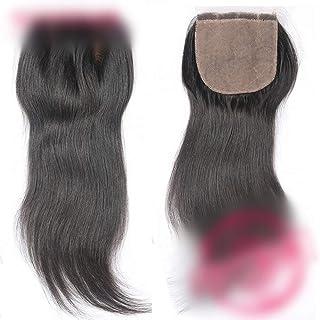 HOHYLLYA ストレート人間の髪の毛の閉鎖ブラジルのリアルヘアフリーパート4 * 4レースの閉鎖ヘアエクステンションナチュラルカラー複合ヘアレースかつらロールプレイングかつら (色 : 黒, サイズ : 12 inch)