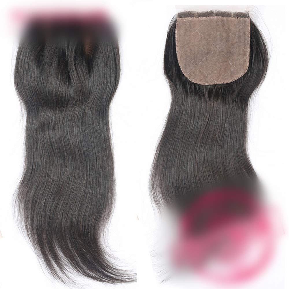 立場神学校顎HOHYLLYA ストレート人間の髪の毛の閉鎖ブラジルのリアルヘアフリーパート4 * 4レースの閉鎖ヘアエクステンションナチュラルカラー複合ヘアレースかつらロールプレイングかつら (色 : 黒, サイズ : 12 inch)