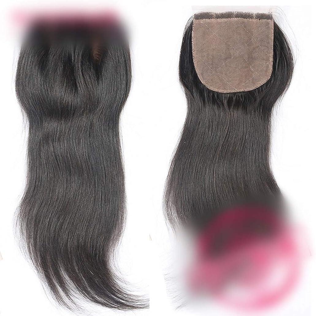 巨人バーチャルわずかなBOBIDYEE ストレート人間の髪の毛の閉鎖ブラジルのリアルヘアフリーパート4 * 4レースの閉鎖ヘアエクステンションナチュラルカラー複合ヘアレースかつらロールプレイングかつら (色 : 黒, サイズ : 12 inch)