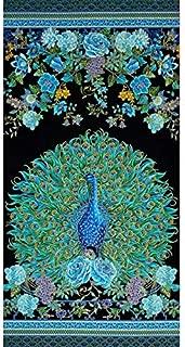 Timeless Treasures Enchanted Plume Metallic 24in Peacock Panel Fabric