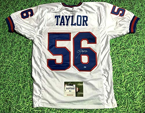 LAWRENCE TAYLOR AUTOGRAPHED NEW YORK GIANTS W JERSEY AASH LT LAST ONE