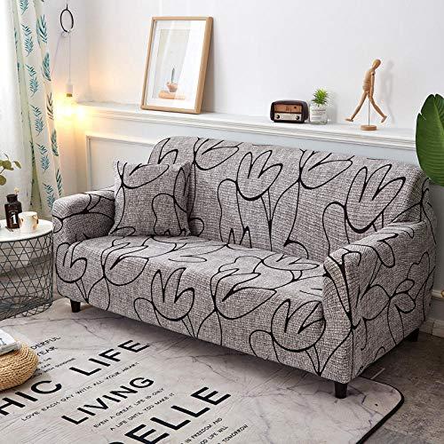 Funda Sofa 4 Plazas Chaise Longue Palma Gris Fundas para Sofa con Diseño Elegante Universal,Cubre Sofa Ajustables,Fundas Sofa Elasticas,Funda de Sofa Chaise Longue,Protector Cubierta para Sofá