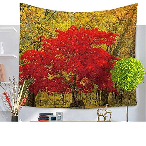 Érable Motif arbres Décoration mural Tapis Tapisserie contraste de couleur naturelle Scene mural décoration pour le salon chambre à coucher wohnheim Dekor, Tissu, Mehrfarbig, 59*51in