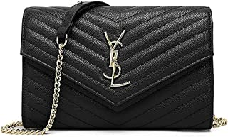 8f038516ebf Fashion Crossbody Bag for Women Leather Quilted Shoulder Purse With Golden  Chain Strap (Black)