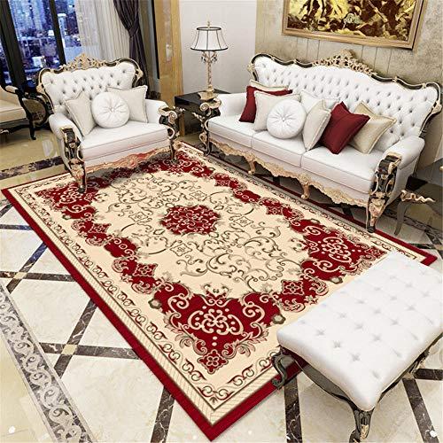 Xiaosua Alfombras para Casa Rojo Salón de alfombras Rojo Clásico Vintage Estampado Floral Alfombra Suave Tamaño múltiple Alfombras para Comedor 40X60CM Alfombra Jardin 1ft 3.7''X1ft 11.6''