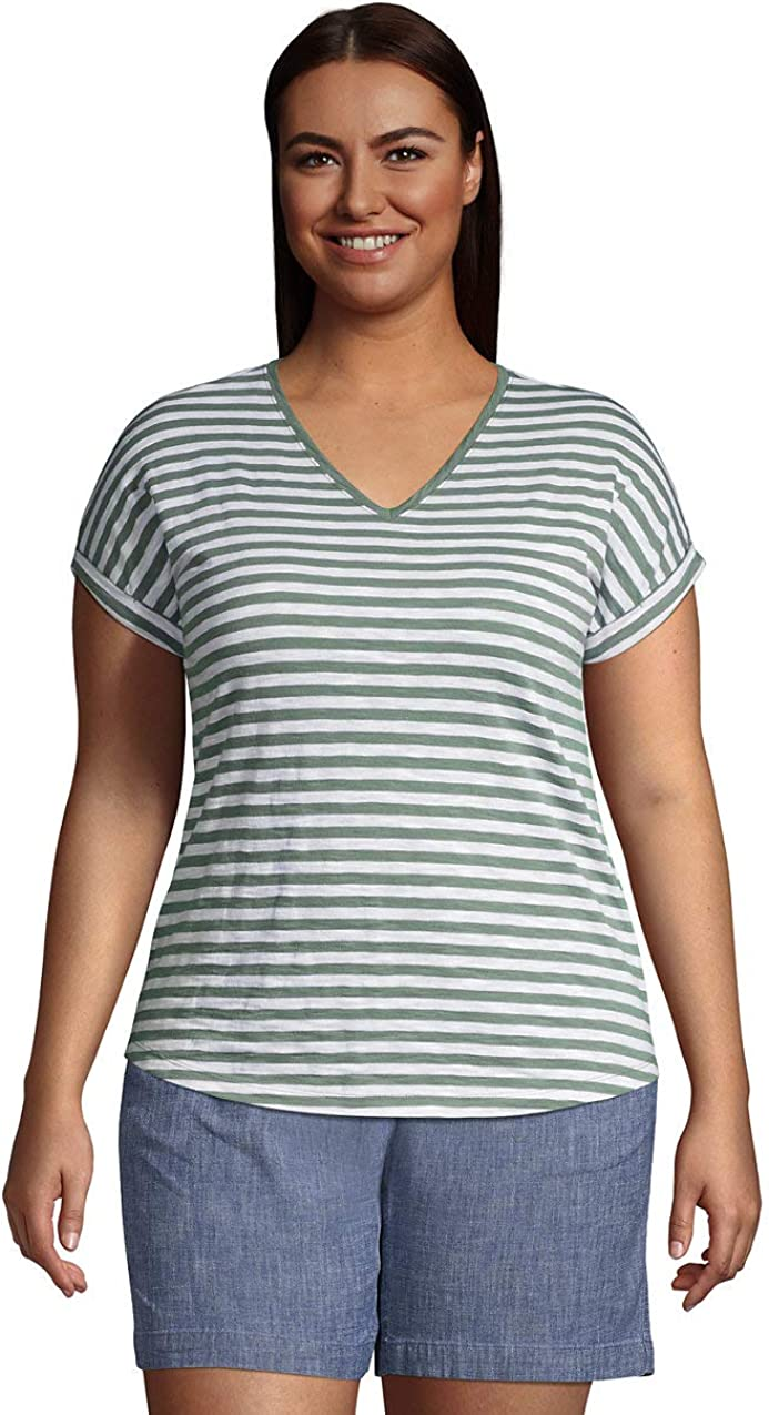 Lands' End Women's Slub Jersey Short Sleeve V-Neck T-Shirt