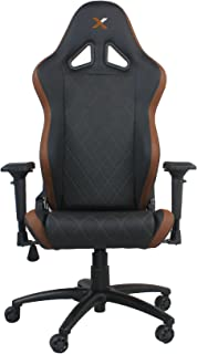 Ferrino Line Brown on Black Diamond Patterned Gaming and Lifestyle Chair by RapidX
