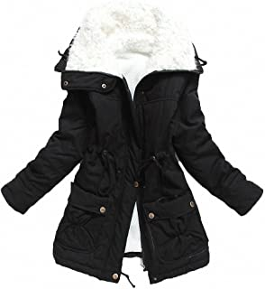 MEWOW Women's Winter Mid Length Thick Warm Faux Lamb Wool Lined Jacket Coat