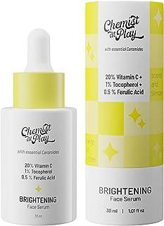Chemist at Play Advanced Brightening Face Serum with Ceramides | 20% Vitamin C + 1% Tocopherol + 0.5% Ferulic Acid | All S...