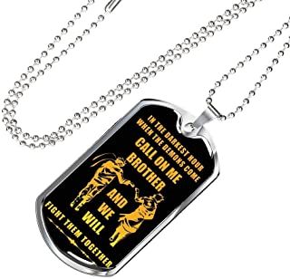 New Version My Brother Dog Tag Chain Necklace Pendant Naruto Fan Anime Movie - Happy Birthday Gifts for Friends Or Brother When The Demon Comes, Call On Me Brother