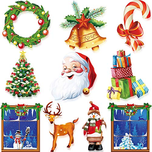 10 Pieces Christmas Cutouts Decoration Winter Cutouts with Glue Point Dots for Christmas Party Winter Bulletin Board Classroom School Home Window or Door