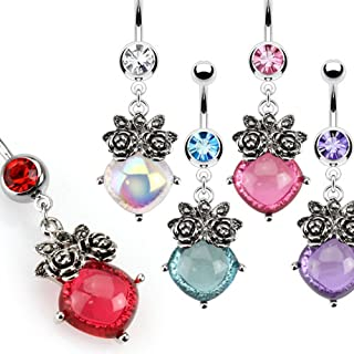 Jinique SBJ-0106 Stainless Steel Paved Crystal Flower with Opal Center Navel Ring; Choose 1 Color