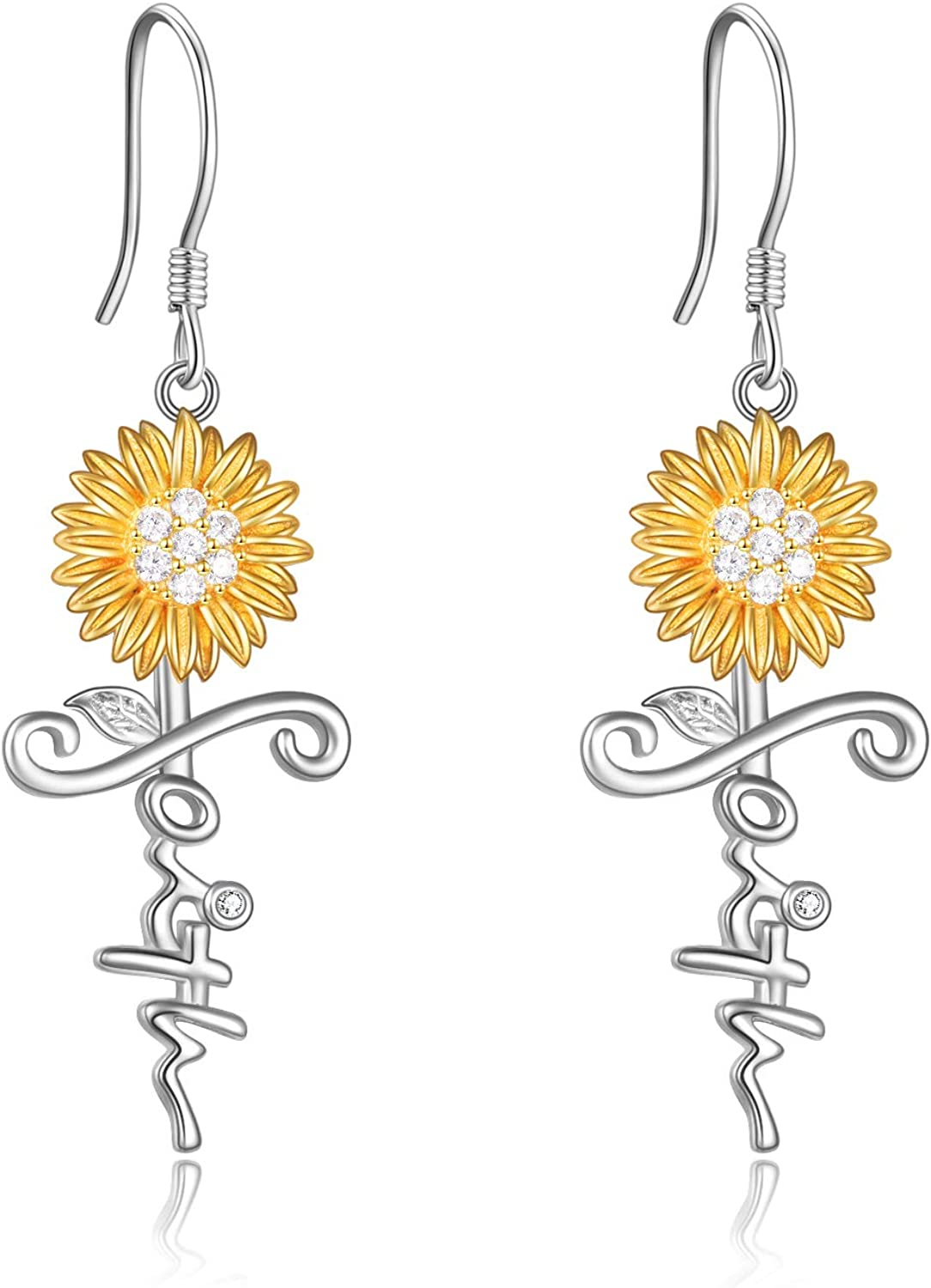 POPLYKE Sunflower Jewelry 925 D Dangle Ranking TOP5 Sterling Ranking integrated 1st place Silver