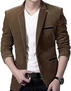 Men Corduroy Stylish Notched Lapel Stitching Sports Coat Blazer Jacket