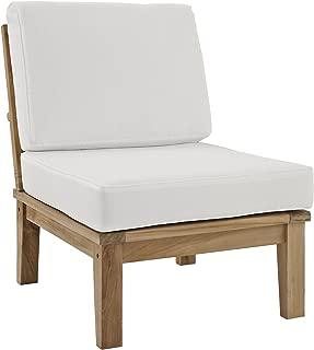 Modway Marina Premium Grade A Teak Wood Outdoor Patio Armless Chair, Natural White