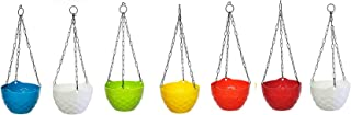 Go Hooked Plastic Hanging Pot, Multicolour, LxDxH - 19x12x13 cm, 7 Pieces