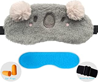ZHICHEN Silk Eye Mask with Lovely 3D Cute Rabbit or Koala Face Soft Eye Bags Adjustable Sleeping Blindfold for Kids Girls Adult for Yoga Traveling Sleeping Party [Inclulding Ice Bag]