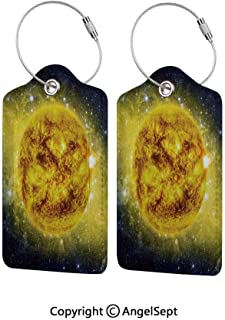 Colorful Unique DIY Printed Luggage Tags,Panorama of Sun in Space with Luminous Effects Dynamic Center of Solar System Print 1 PCS Yellow Blue,for Bags Backpacks, Suitcases, and Golf Bags