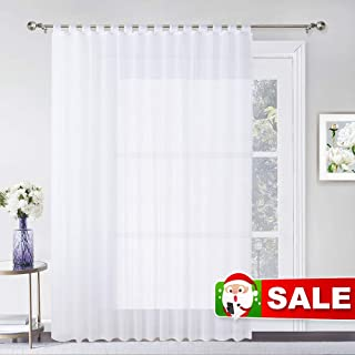 RYB HOME Extra Wide Patio Curtain Sheer Indoor Outdoor Curtains with Sliding Tab Top, Waterproof Weatherproof Privacy White Voile for Pergola Front Porch, 1 Rope, 100 inch Wide x 84 inch Long
