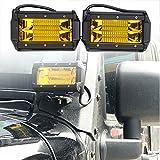 【HOZAN照明】角度可調整72W 5インチ スポットライト フォグライト オフロードライト ボートライト 駆動ライト Ledワークライト SUV ジープランプ Ledライトバー 補助照明灯 集魚灯 前照灯 吉普 SUV ATV UTV 船舶 各種作業車に対応 2個セット 1年間品質保証