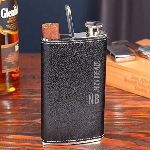Calvin Black Leather Hip Flask and Cigar Holder (Personalized Product)