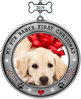 BANBERRY DESIGNS Puppy's First Christmas - 2019 Dated Picture Ornament for Your Fur Baby - Paw Prints, Hearts, Dog Bone and Candy Cane Design