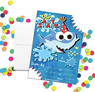 baby shark 2nd birthday invitation