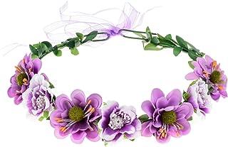DreamLily Women's Flower Festival Wedding Hair Wreath Boho Floral Headband BC09 (Y/Purple)